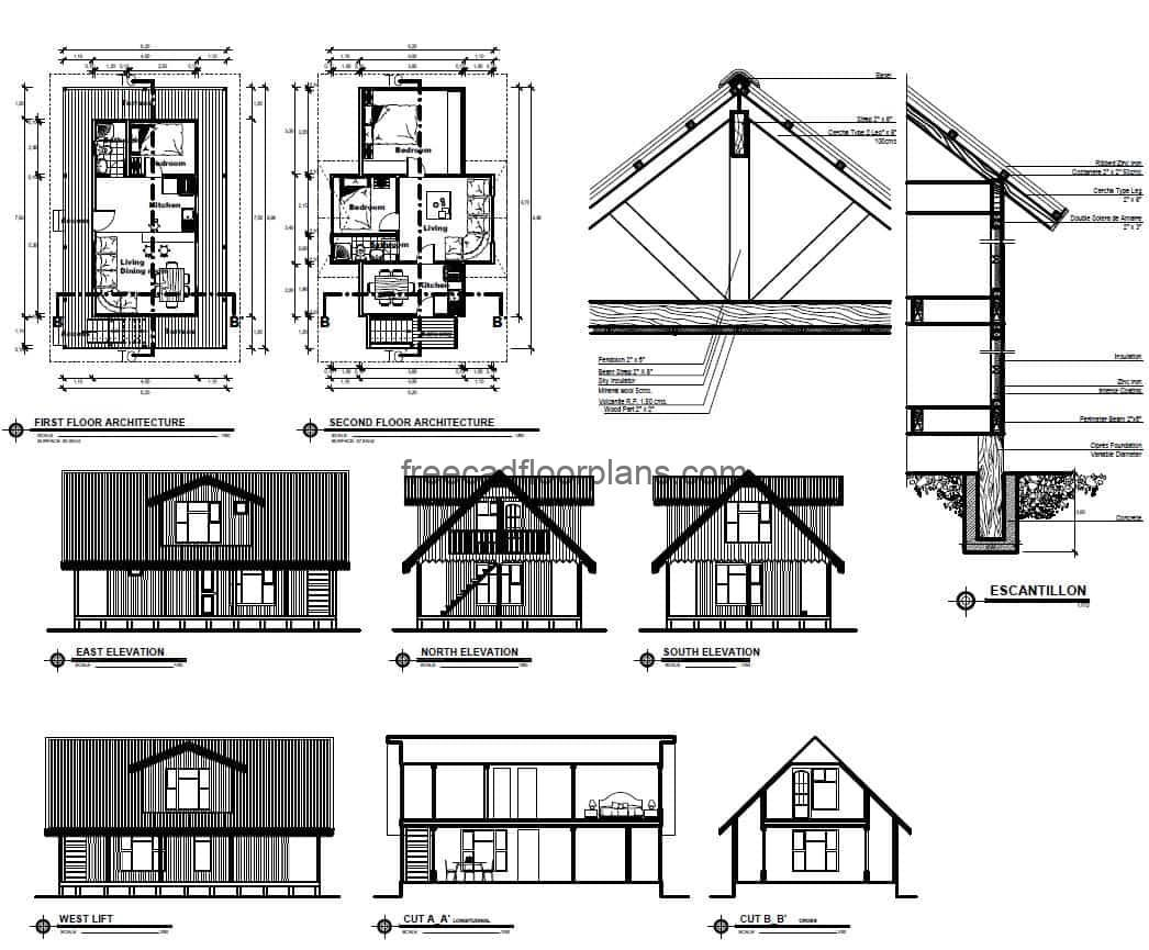 Complete plans of country house of three rooms, elevations, sections, details of foundation and furnished architectural plant, plans for free download in DWG format