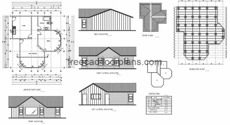 Single Country House Autocad Plan, 1709201