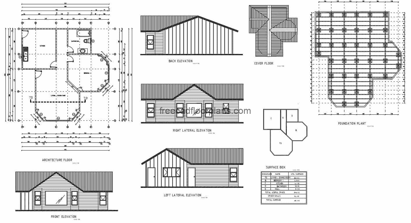 Complete plans in autocad of simple country house, dimensioned plant, architectural, elevations and sections