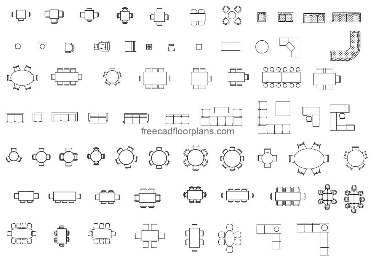 Blocks of Autocad indoor furniture, furniture, kitchen dining, tables and chairs, blocks for free download.
