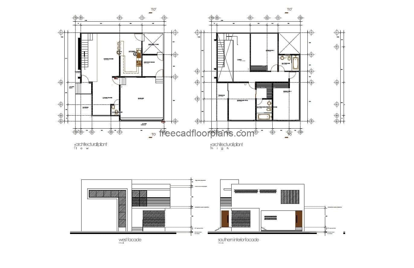 Architectural plans with dimensions and elevations of residence with modern style for free download in autocad DWG format.