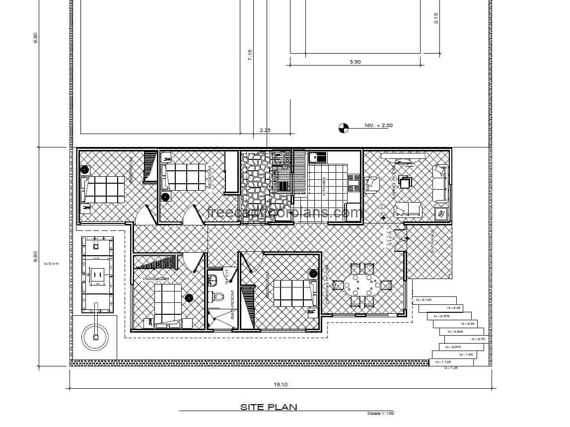 Complete architectural and dimensional plans of a single-family residence for free download in autocad format