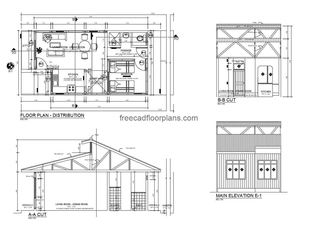 Simple country bungalow of one room, complete plans with details in autocad, plant of architectural and dimensional distribution, structural details and of foundation.