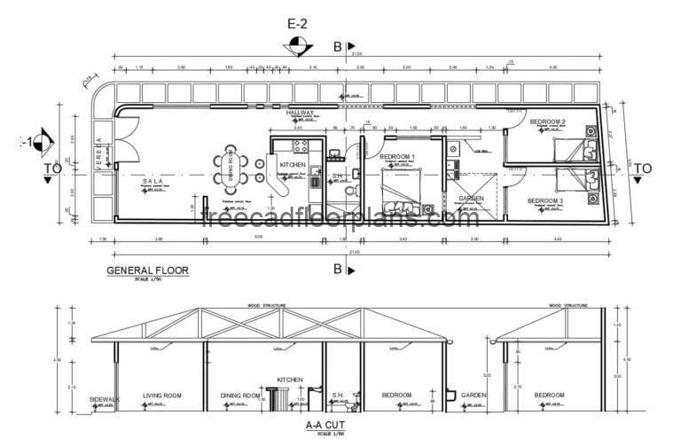 Single-family Residence with Sloping Roof Autocad Plan, 2109201