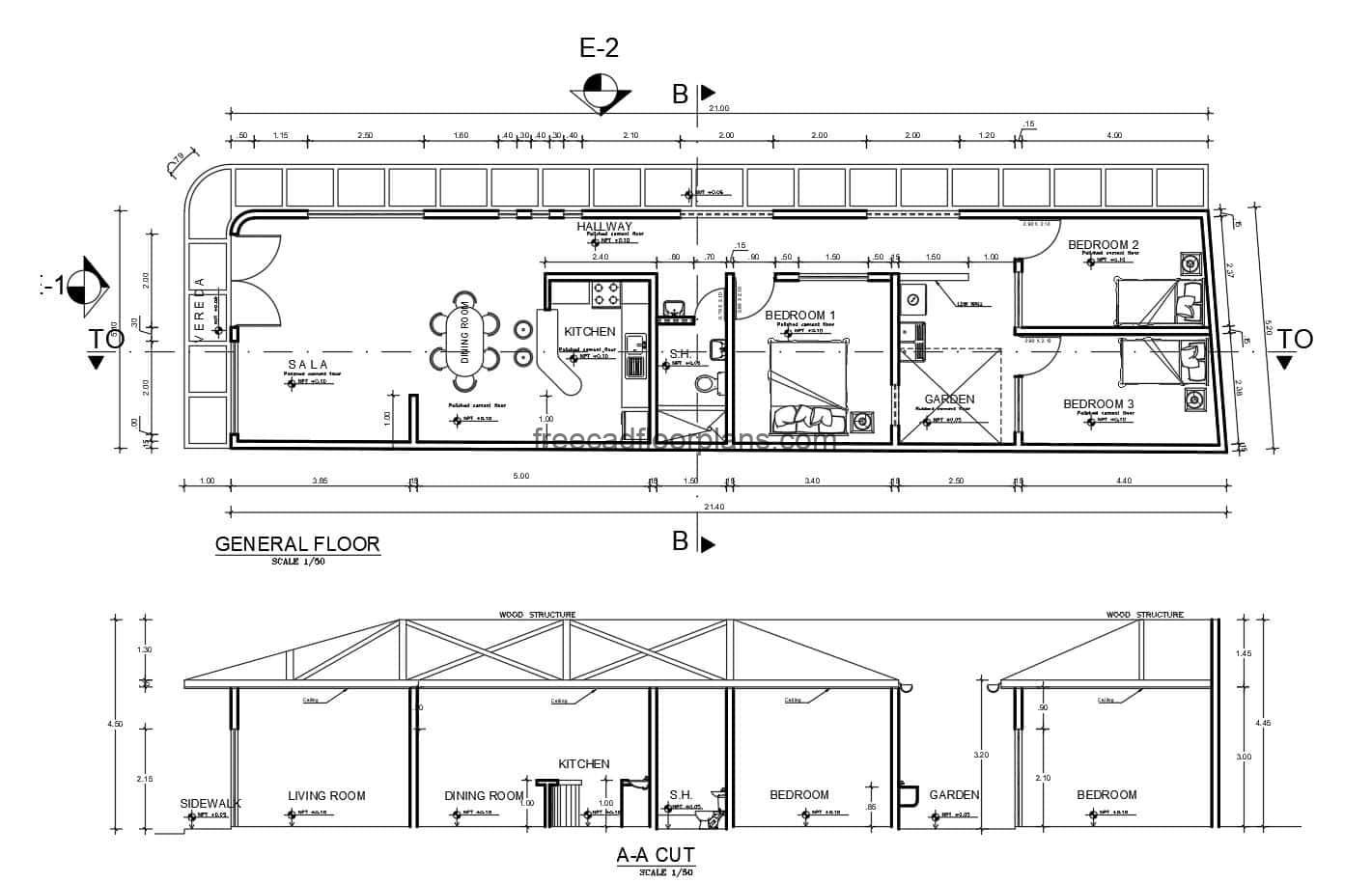 Single-family dwelling inclined roof project of complete plans in dwg format, foundation plan, architectural distribution, electrical plans, sanitary, elevations, sections, free download.