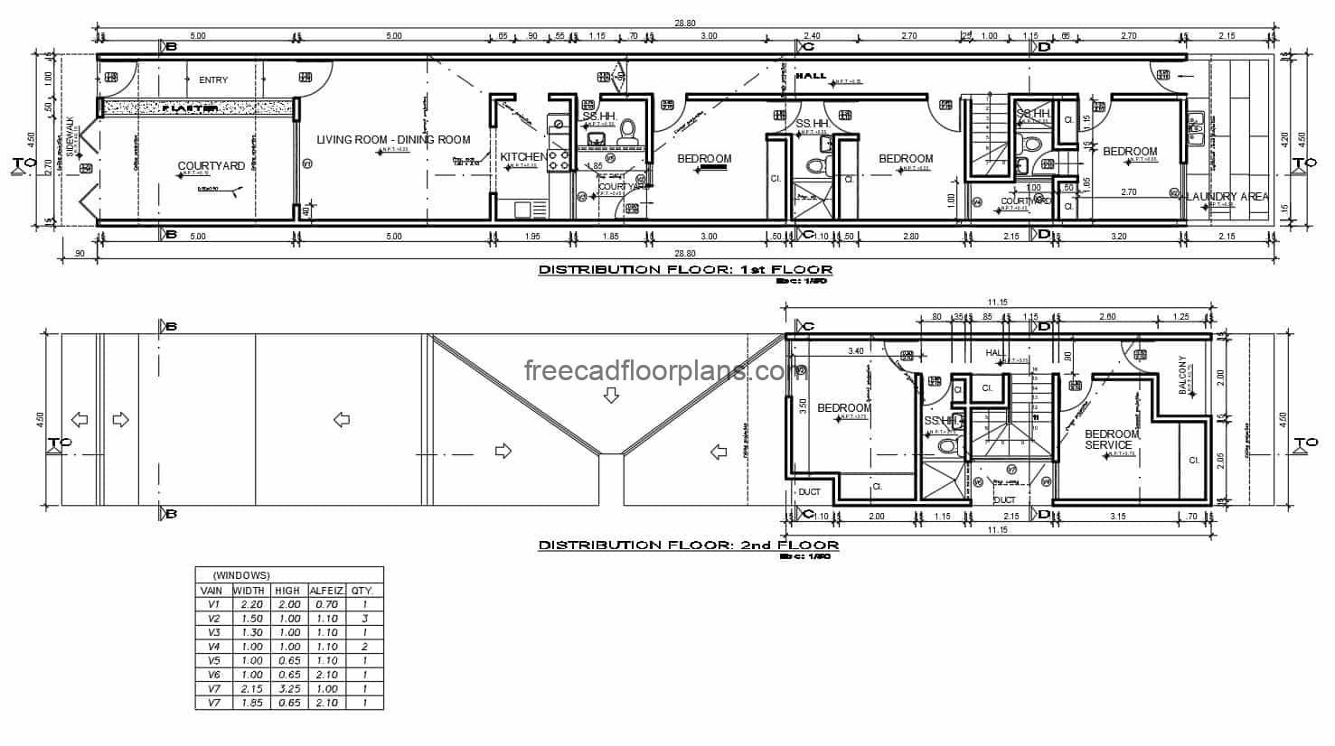 Architectural plans in autocad complete of small elongated house for free download