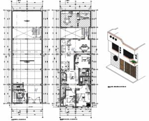Architectural and dimensional plan in Autocad of a two-level residence for free download