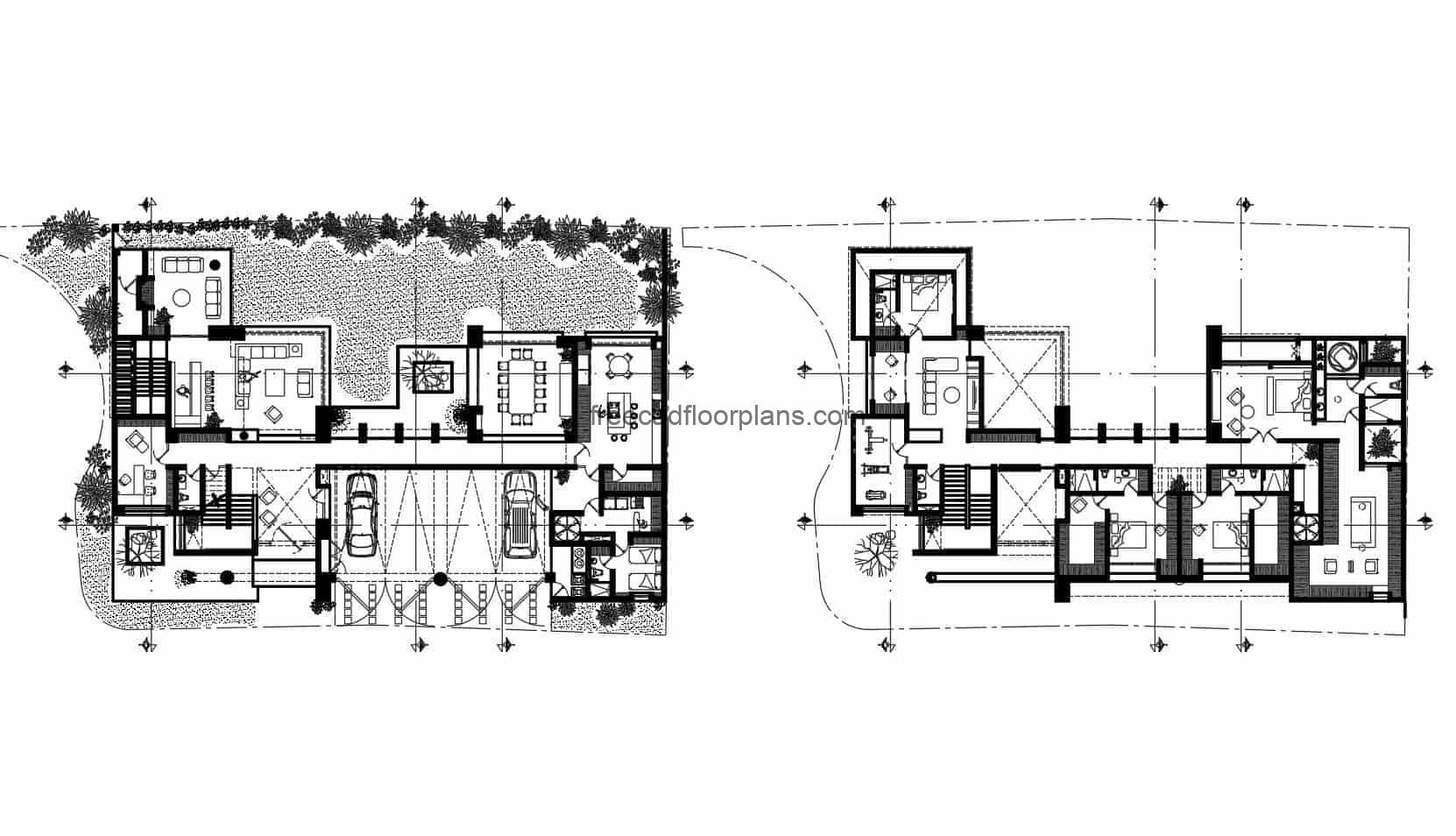 Complete project of modern house of two levels, architectural distribution plans with measures, elevations, sections, plans for free download in Autocad DWG format.