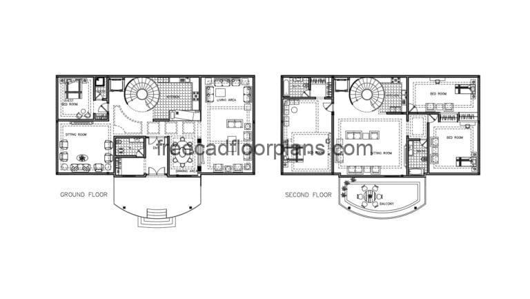 Two-storey Country House Autocad Plan, 2809201
