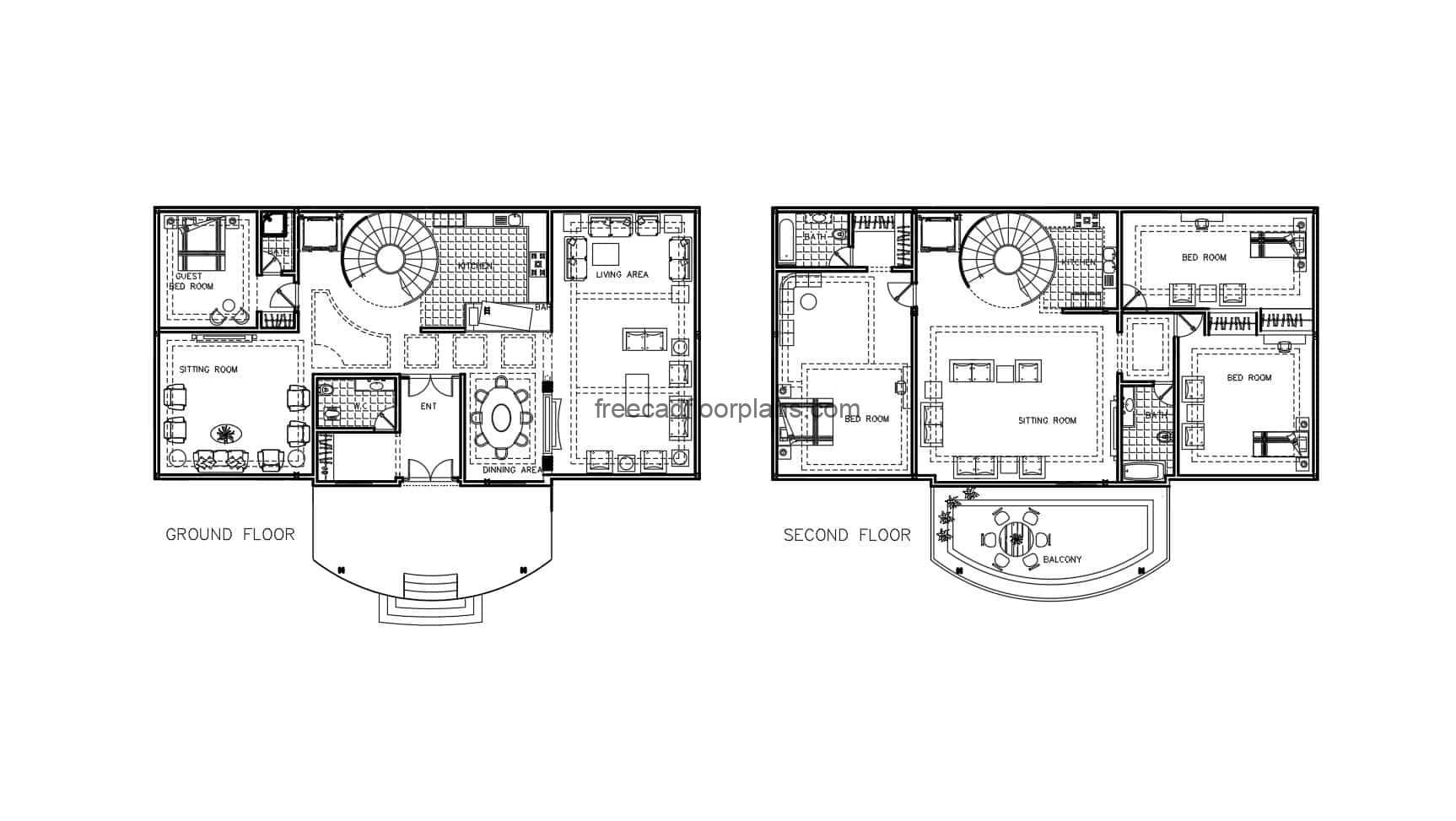 Complete architectural draft in Autocad DWG format of a two-level country house with a curved staircase, plans for free download