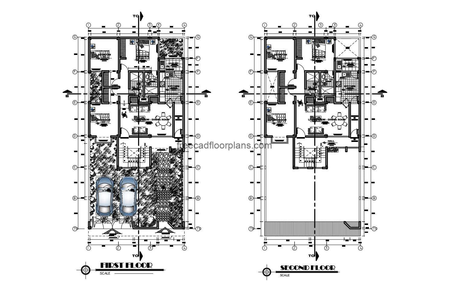 Furnished and sized architectural plans for free download in autocad format.