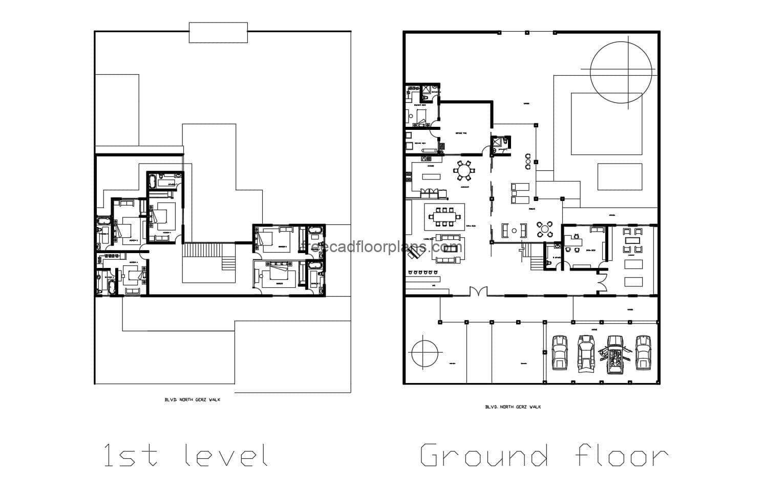 Two-storey house with five rooms architectural layout plans and dimensions in autocad for free download
