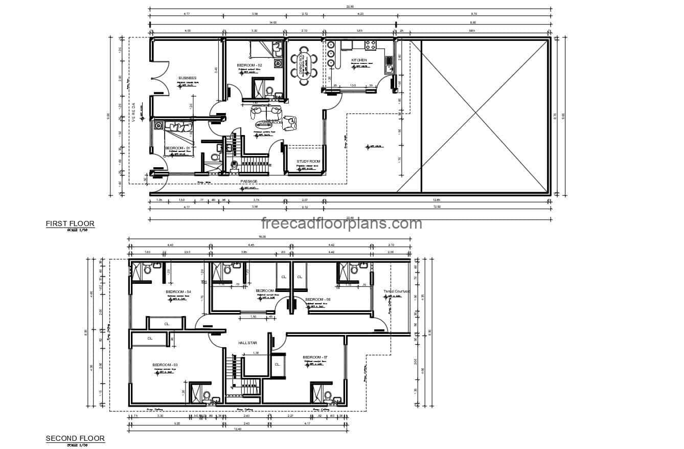 Complete project plan of a two-level residence with seven rooms, foundation plan, electrical, sanitary, dimensioning and architectural, autocad DWG format for free download