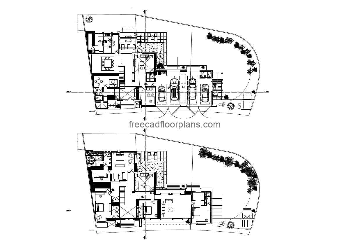 Complete architectural project of plans in autocad for residence of two levels with four rooms, architectural plans, electrical, foundation, sanitary, elevations, complete project for free download.