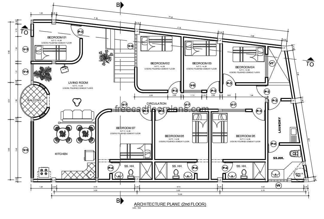 complete plans of mixture residence and commercial premises of two levels, plans of architectural distribution and dimensioned for free download in format DWG of Autocad.