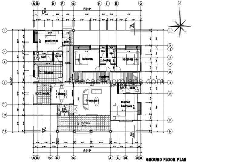 Four Bedroom Country House Autocad Plan, 2609201
