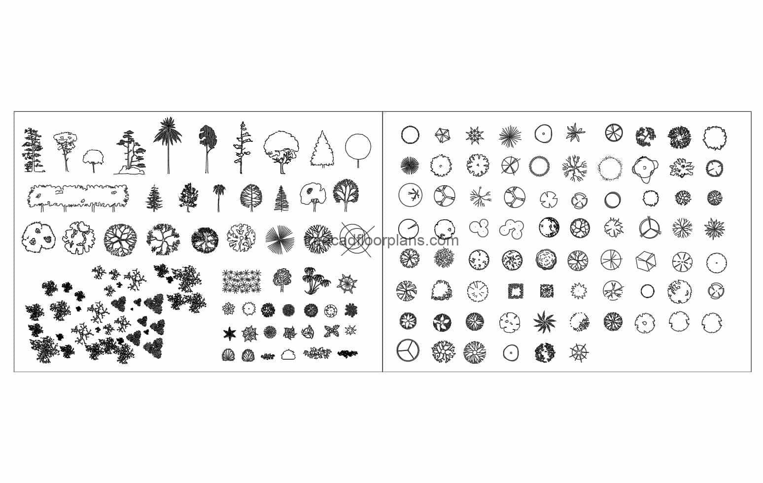 Complete collection of Trees and Plants in Autocad DWG blocks for free download