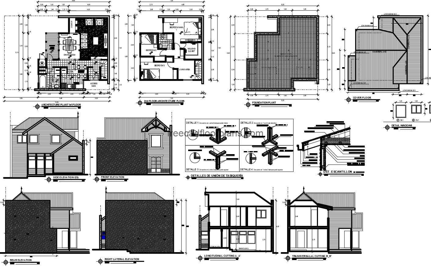 Set of plans in autocad of simple residence of country style, architectural plant, dimensioned, details of foundation, elevations and sections, plans for free download.