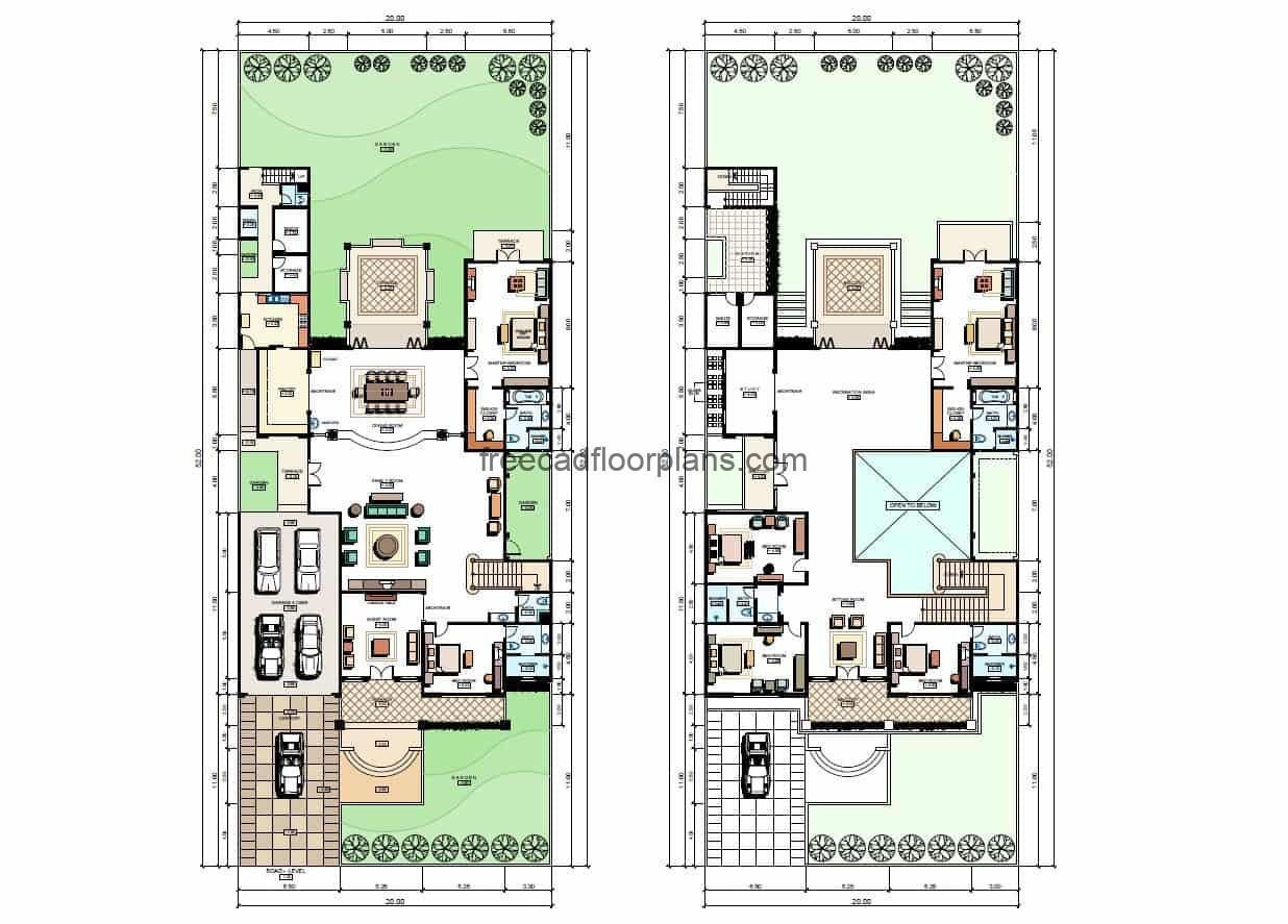 Architectural plans and layout of a modern two-story, six-bedroom residence