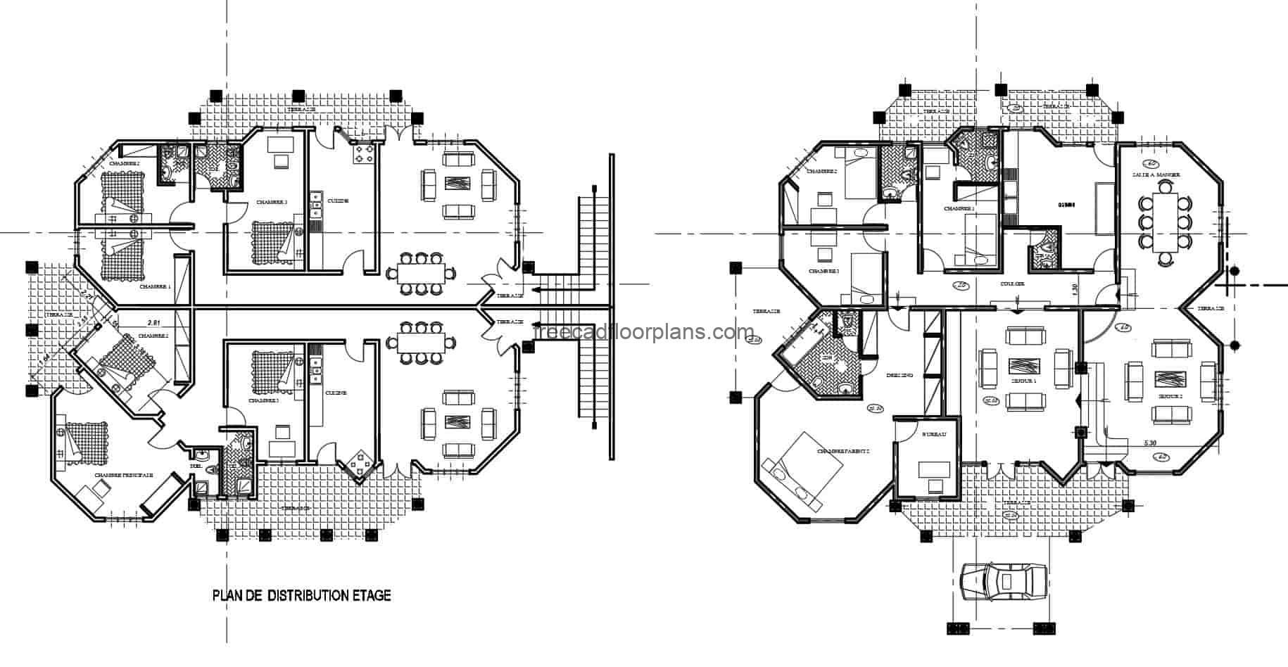 complete plans of big house of two levels with irregular shape, for free download in DWG format