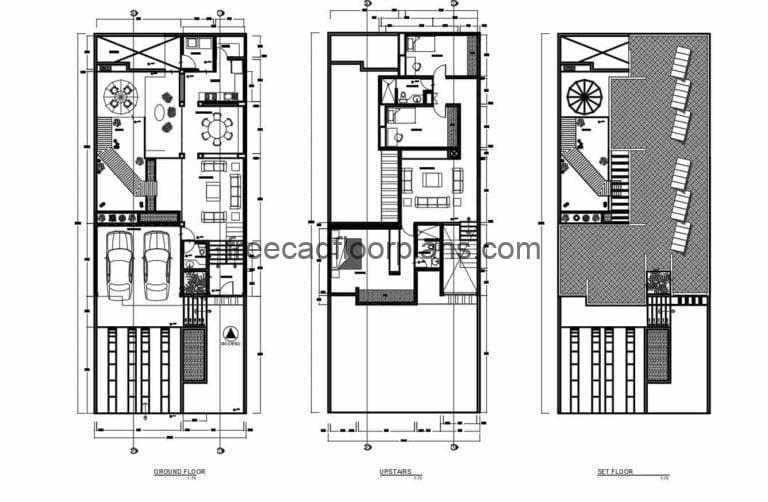 Architectural and dimensional drawings with two-level residence elevations for free download in Autocad DWG format