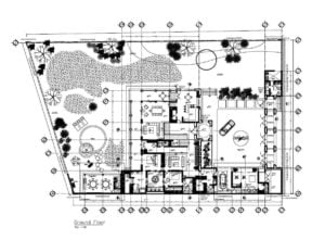 Large two-story flat residence complete with elevations and sections and architectural details in autocad DWG format for free download