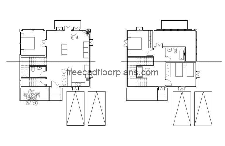 Two-Storey Simple House Autocad Plan, 0809201