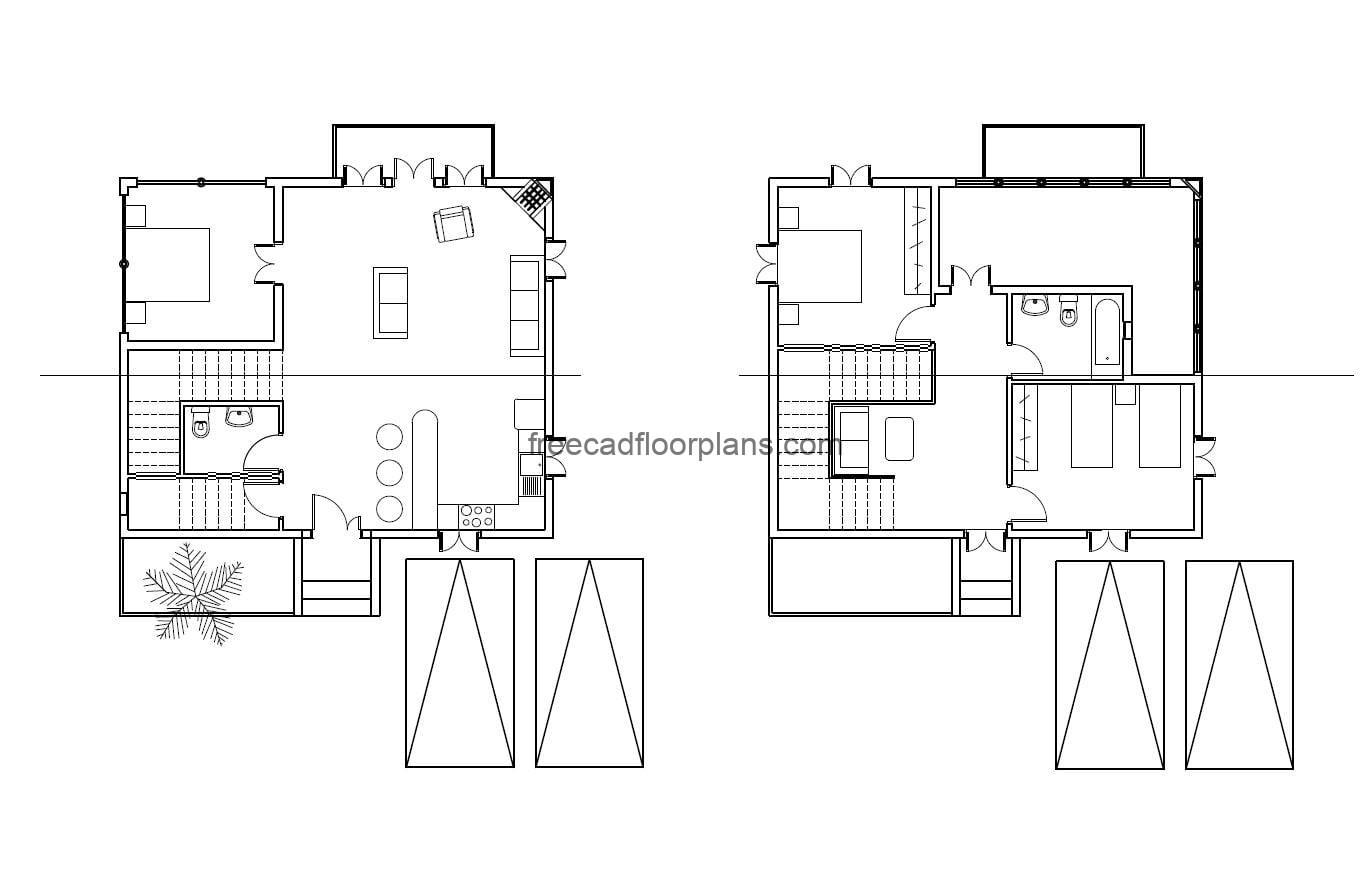 Plans of simple family residence of two levels with three rooms, set of dimensioned and architectural plans to download for free in DWG format