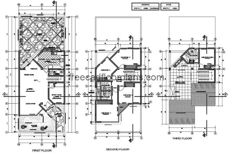 Two And a Half Level Residence project Autocad Plan, 610201