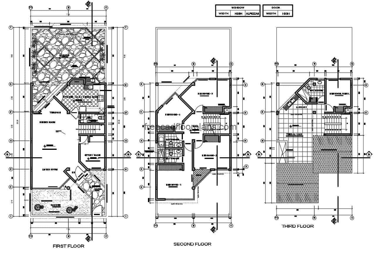 Architectural and dimensional plans of a two and a half level residence with a modern style facade, drawings in DWG Autocad format for free download