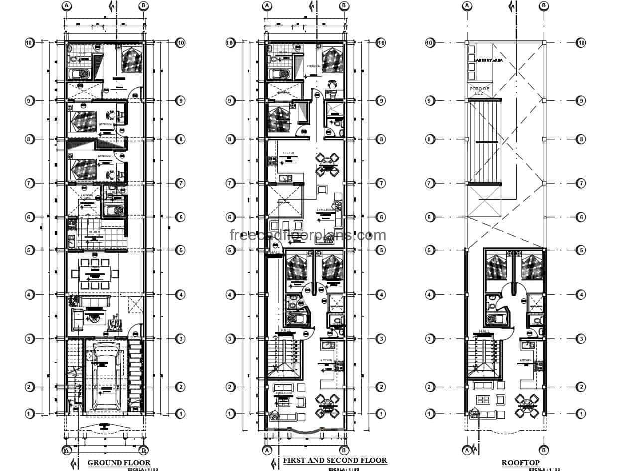 This is an architectural project defined in Autocad DWG plans of a four level residential housing project with independent residences. The project has architectural, dimensional, and structural foundation plans for free download.