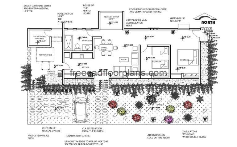 Ecological House Project Autocad Plan, 3001201