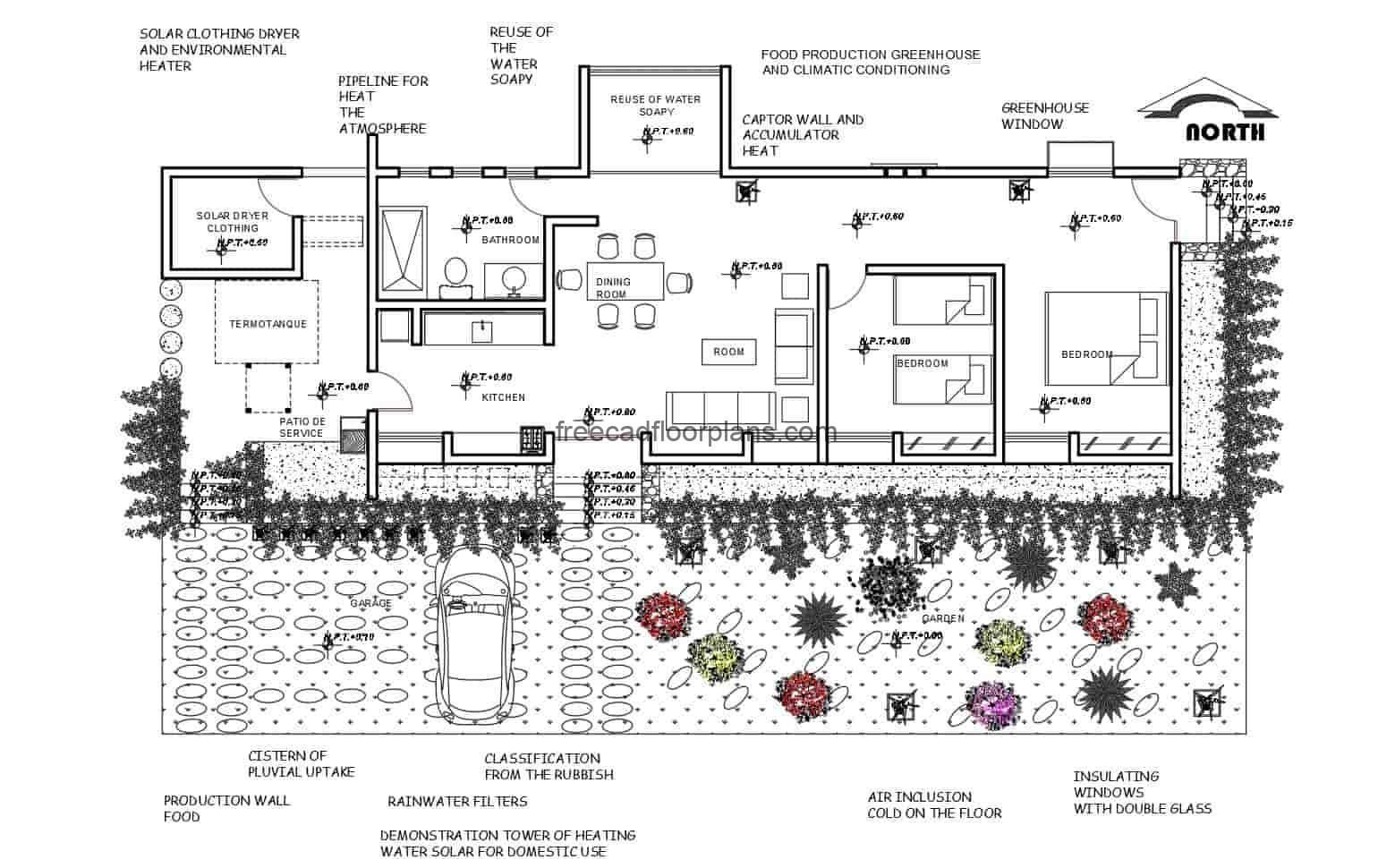 Architectural project of a family ecological house of one level with two rooms, plans in Autocad format with details and dimensions