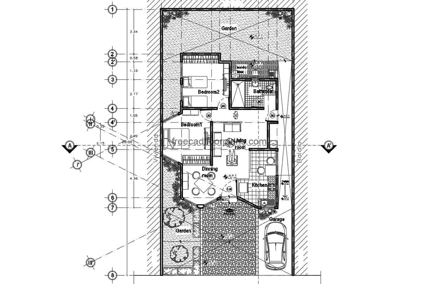 Architectural design plan in DWG format from Autocad single level with two rooms, plans for free download editable