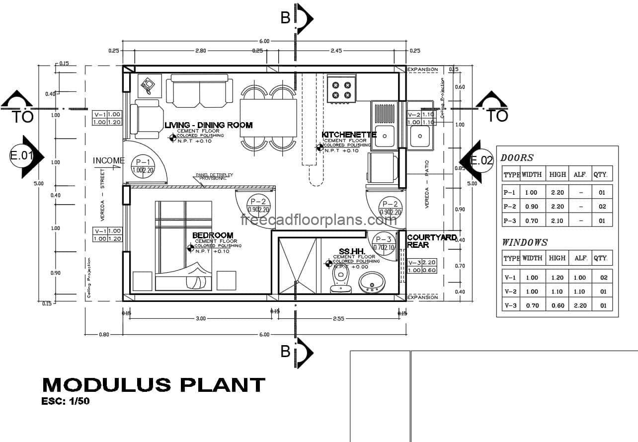 Complete architectural project of plans in Autocad DWG format of simple small house of a room for free download, plan has details of foundation, details of sanitary installation, electrical, structural plans, elevations of exterior facades and sections.
