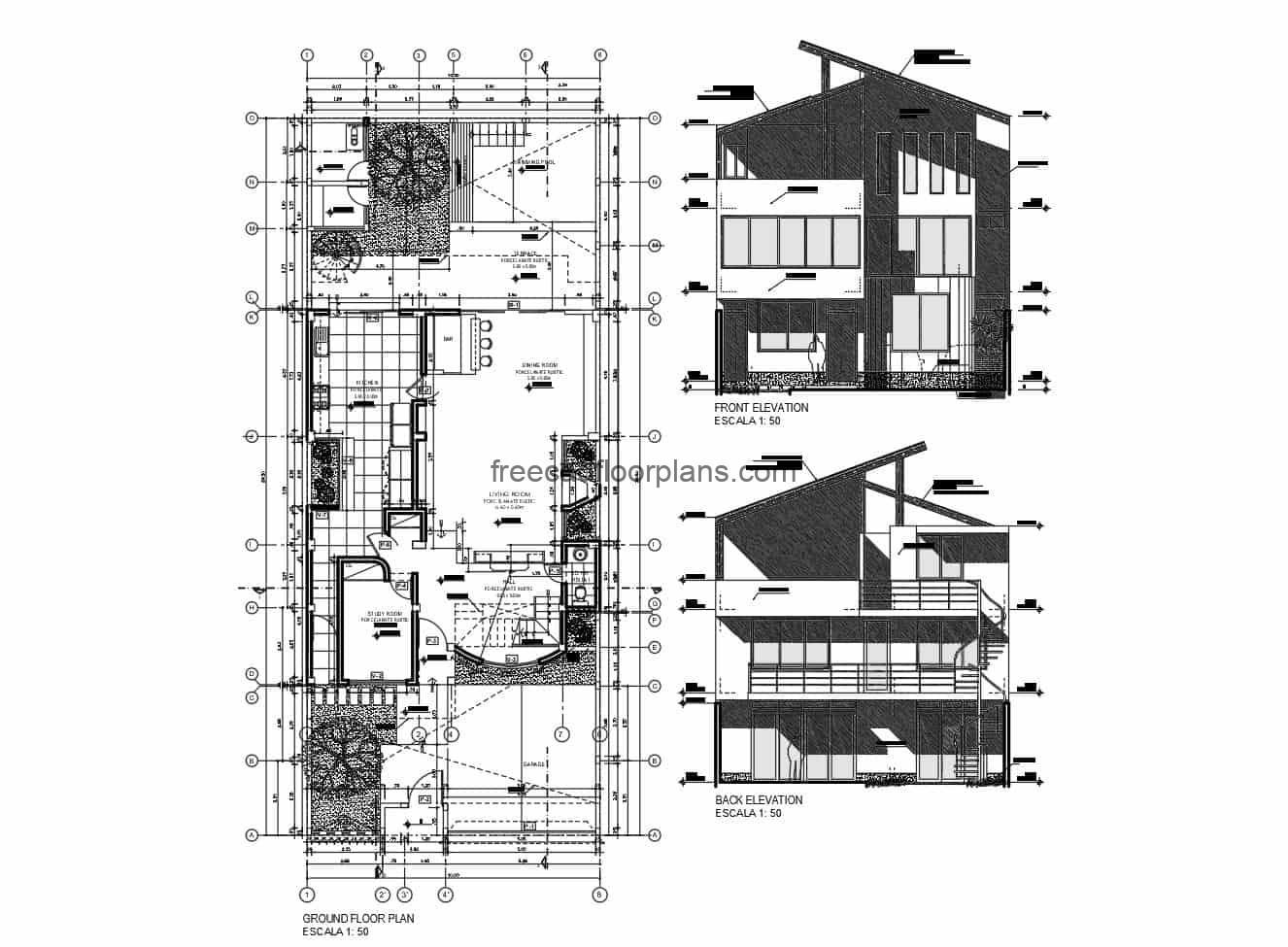 Architectural project plans of modern residence of three levels with defined spaces, autocad blocks, facade, elevations and sections. Plan for free download in DWG format.