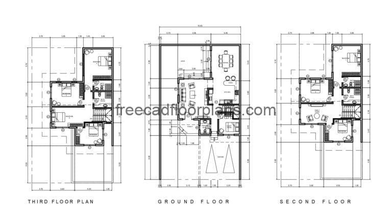 Three Storey House With Eight Bedrooms Autocad Plan, 2310201