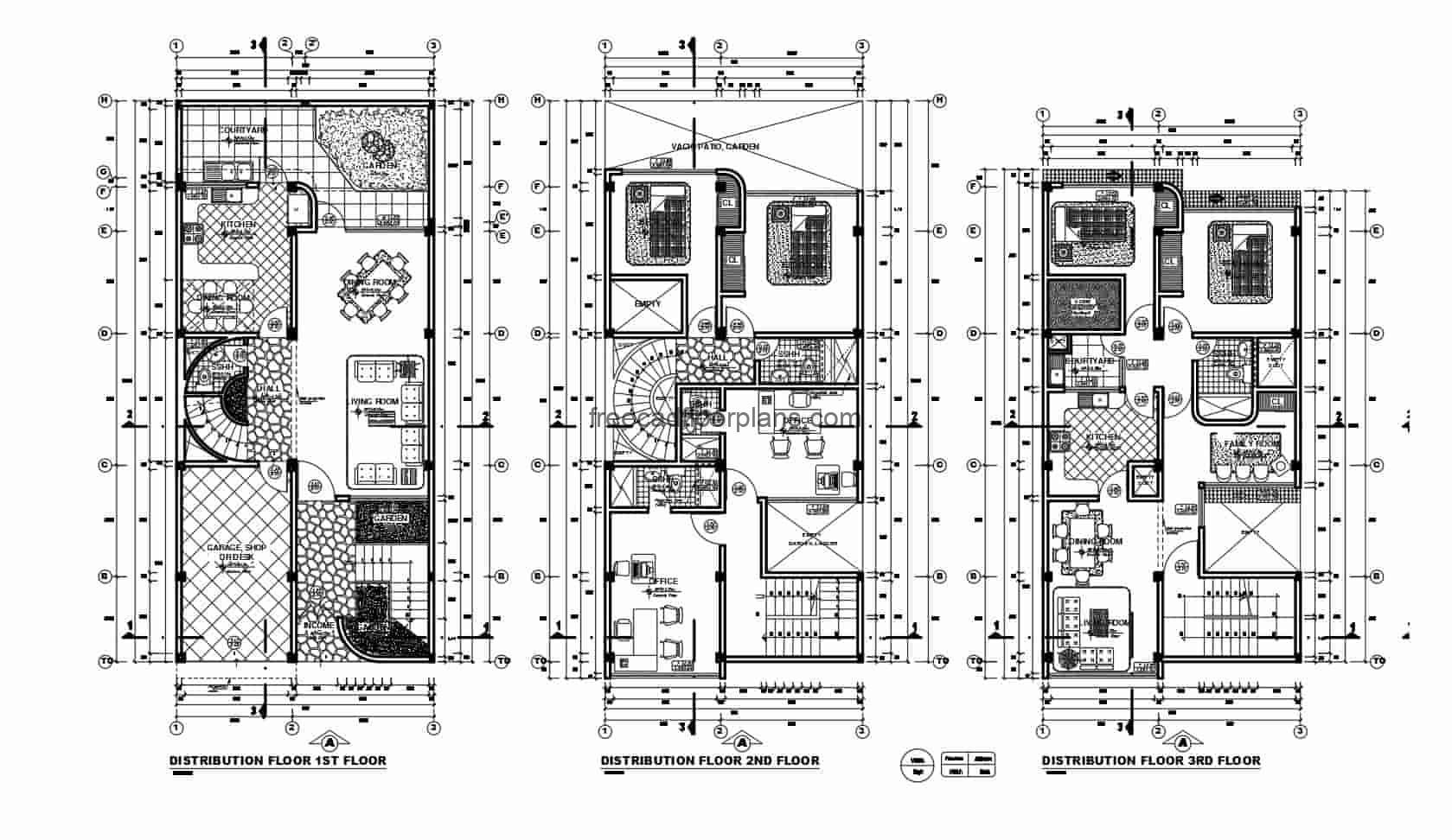 Architectural and dimensional plans in Autocad DWG drawings of a three level building with two houses, 2 rooms for each independent house, several offices and a usable roof, plan in editable format for free download.