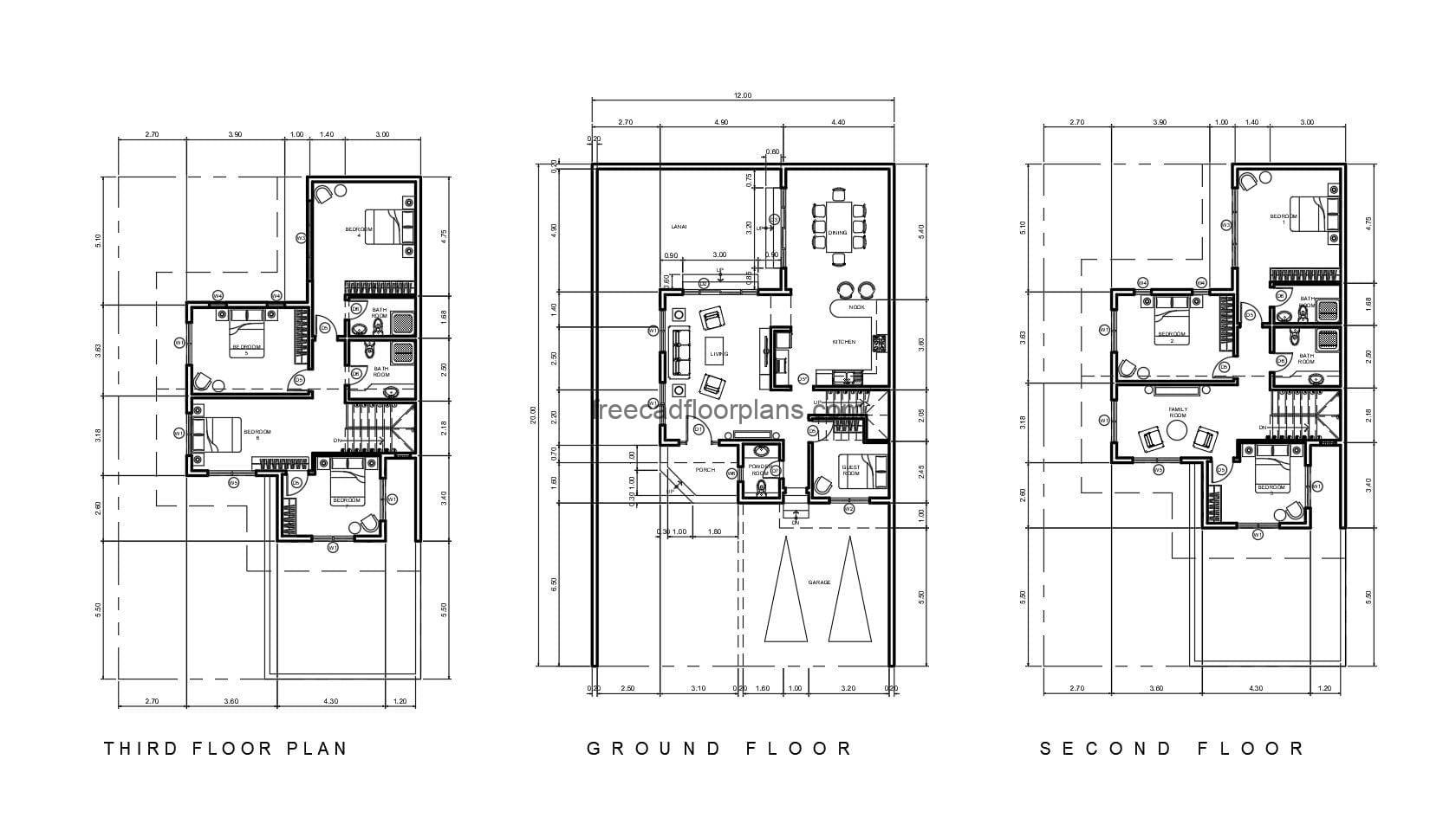 Architectural design and dimensioning of a complete house of three levels with eight rooms in total, plans for free download in Autocad format