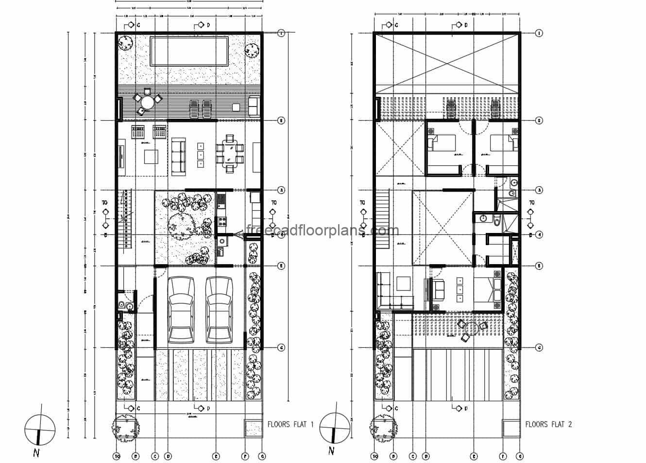 Architectural design in DWG format of rectangular house of two levels with three rooms in the second level, garage for two vehicles in the first level, living room, kitchen, and back with dining room, family room, terrace and pool, the house also has an interior patio that divides the spaces.