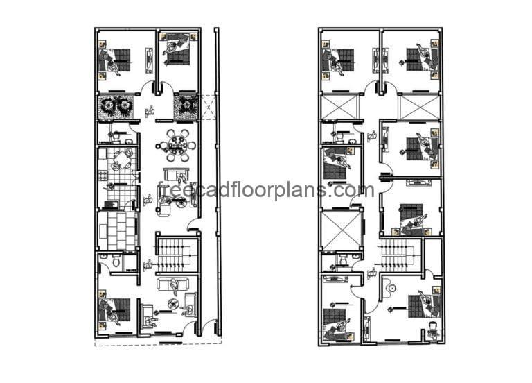 Two-story Rectangular House Autocad Plan, 510201