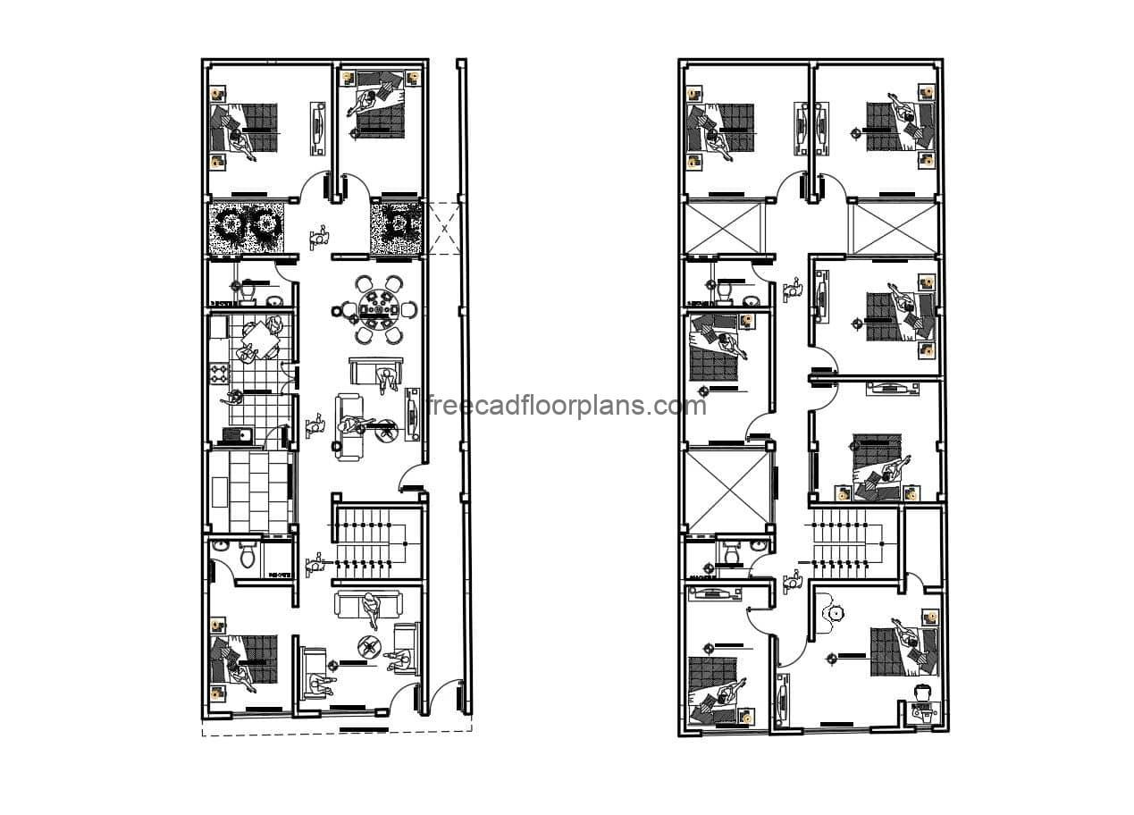 Large rectangular house of two levels with 10 rooms in total, complete project in Autocad DWG format for free download, foundation plans, electrical, sanitary, elevations and sections.