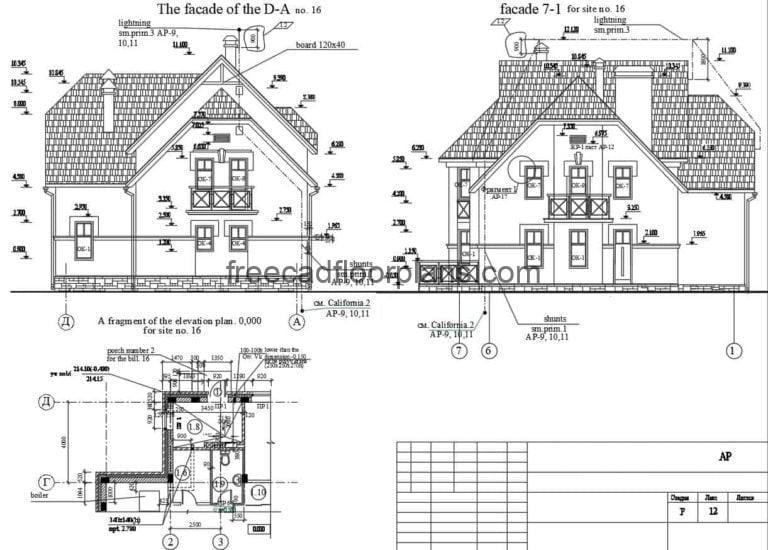 Two-storey Country House Autocad Plan, 610202