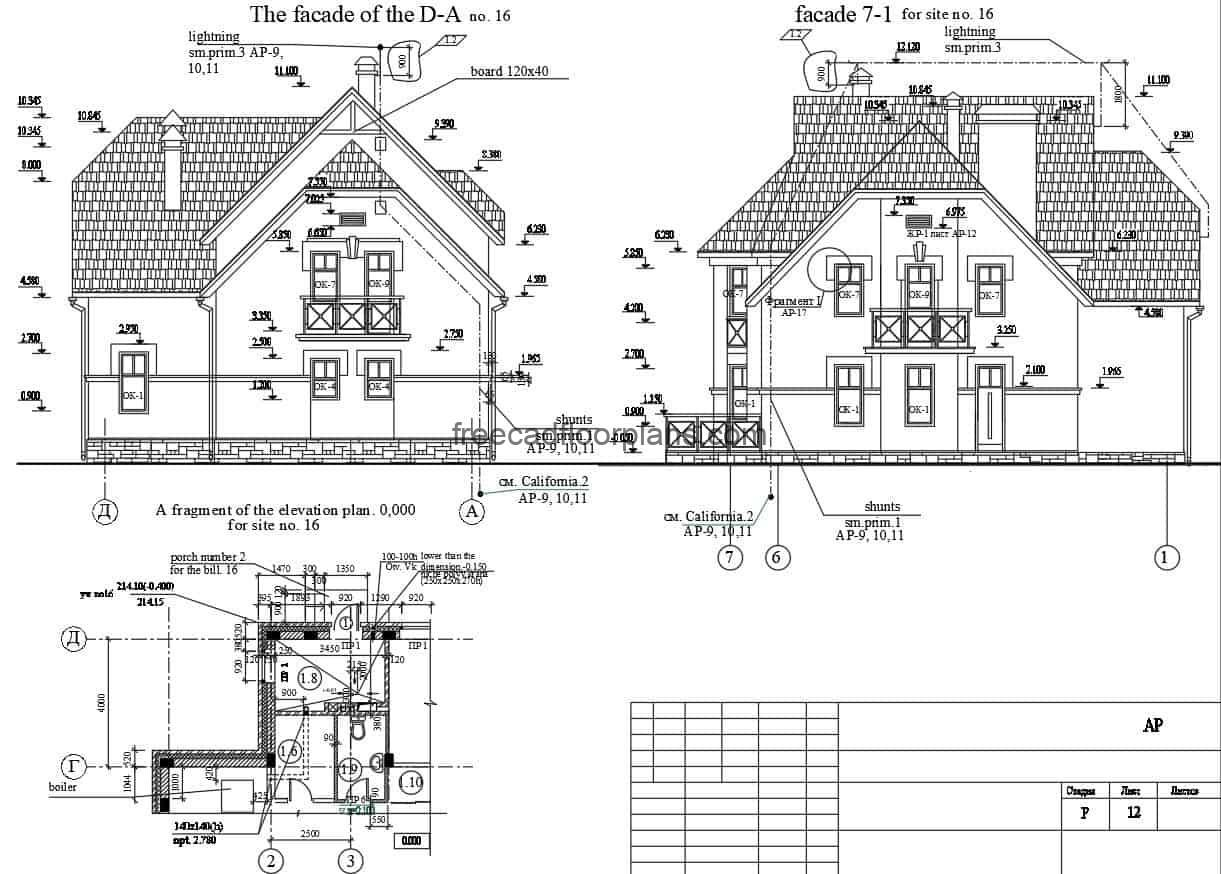 Two-story country residence, architectural plan design with lots of wood and structural details in Autocad DWG format for free download.