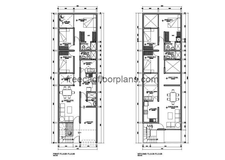 Individual Houses on Two Stories Autocad Plan, 1510201