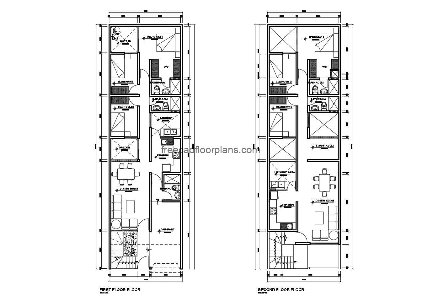 Individual houses on two flat levels with interior distribution and dimensions in DWG Autocad format for free download. elevations, sections and construction details.