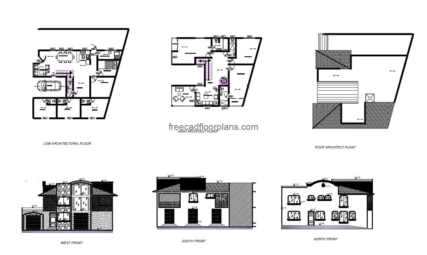 Complete architectural project of a two-level residence with five rooms, all drawings in Autocad DWG format, architectural plans, dimensioning, foundations, details of sanitary and electrical installations. Section views, elevations, structural details, isometric views of sanitary installation in DWG and electrical installation diagrams.