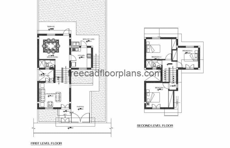 Two-storey Residence Autocad Plan, 710202