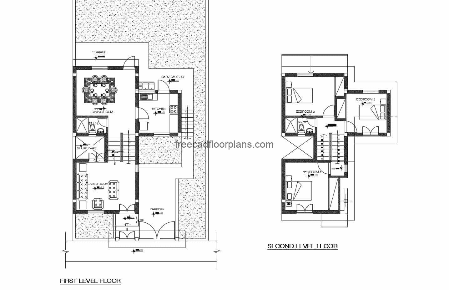 Architectural project in Autocad DWG format of a two-level house with three rooms, furniture blocks in Autocad, architectural plant, dimensioning, elevations, sections and drawing details in DWG format for free download