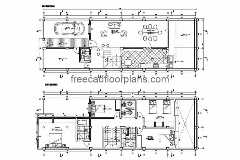 Architectural and dimensional plans, with facades, elevations and sections of two-level residence with four rooms, silver foundation, sanitary and electrical with construction details, plan for free download in autocad DWG format.